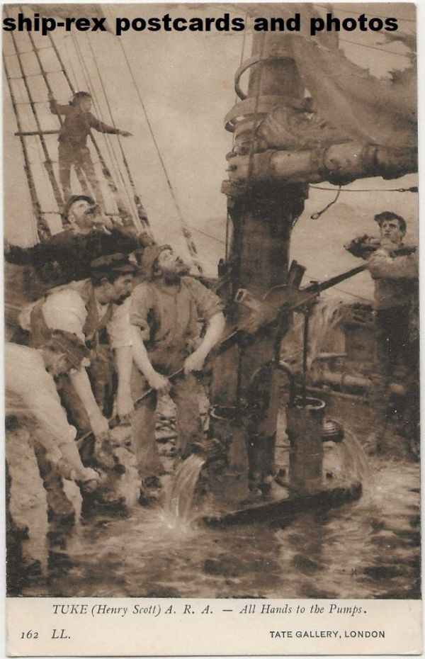 All Hands To The Pumps (Tuke), postcard